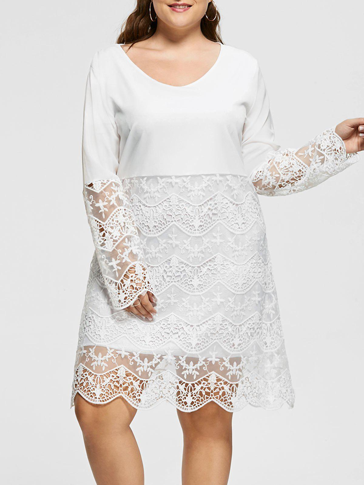 2018 Lace Trim Long Sleeve Plus Size Dress White Xl In Dresses 2018