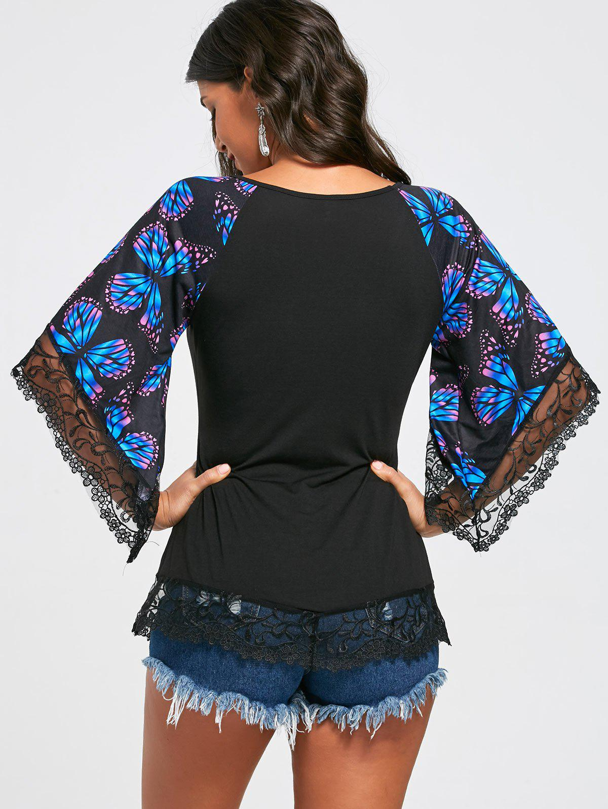 Butterfly Raglan Sleeve T-shirt with Lace Trim - BLUE L