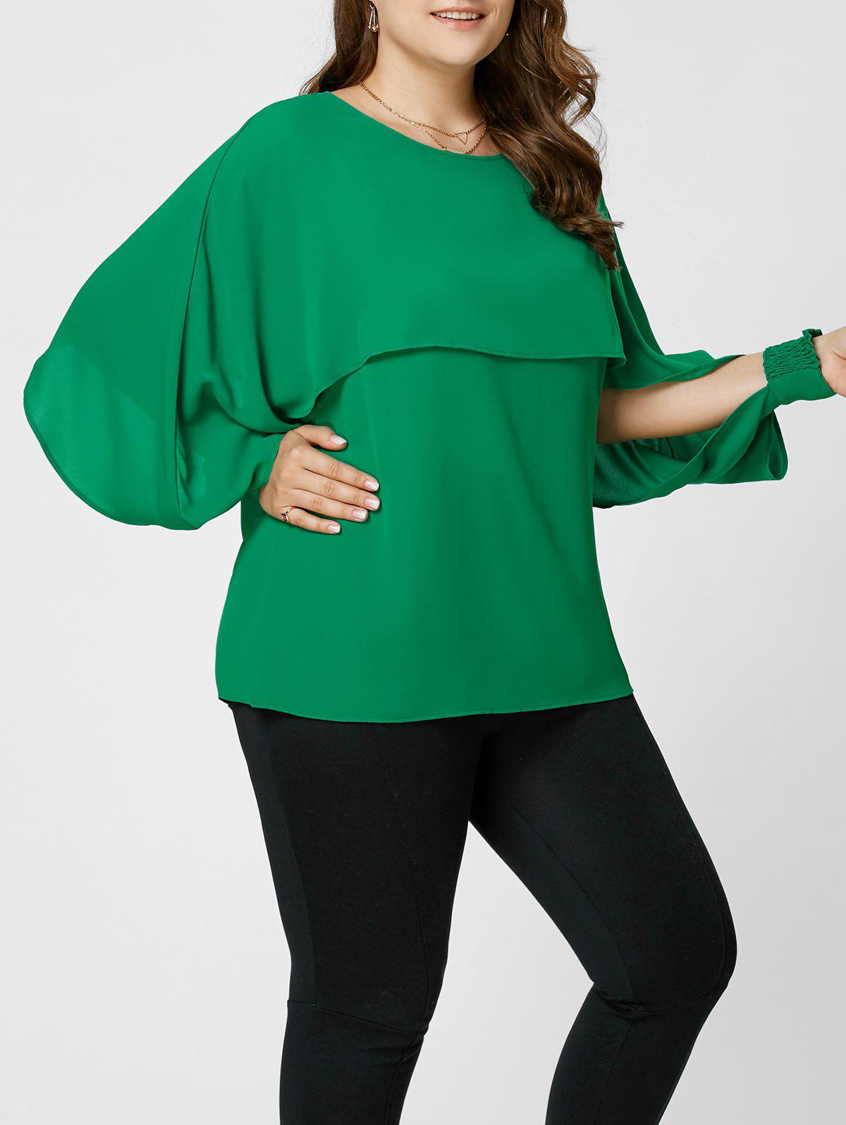 Split Sleeve Plus Size Chiffon Top plus size split sleeve embroidered top