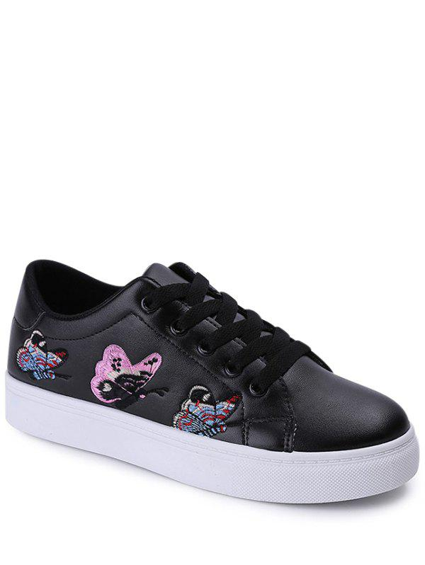 Embroidery Butterfly Pattern Flat Shoes - BLACK 38