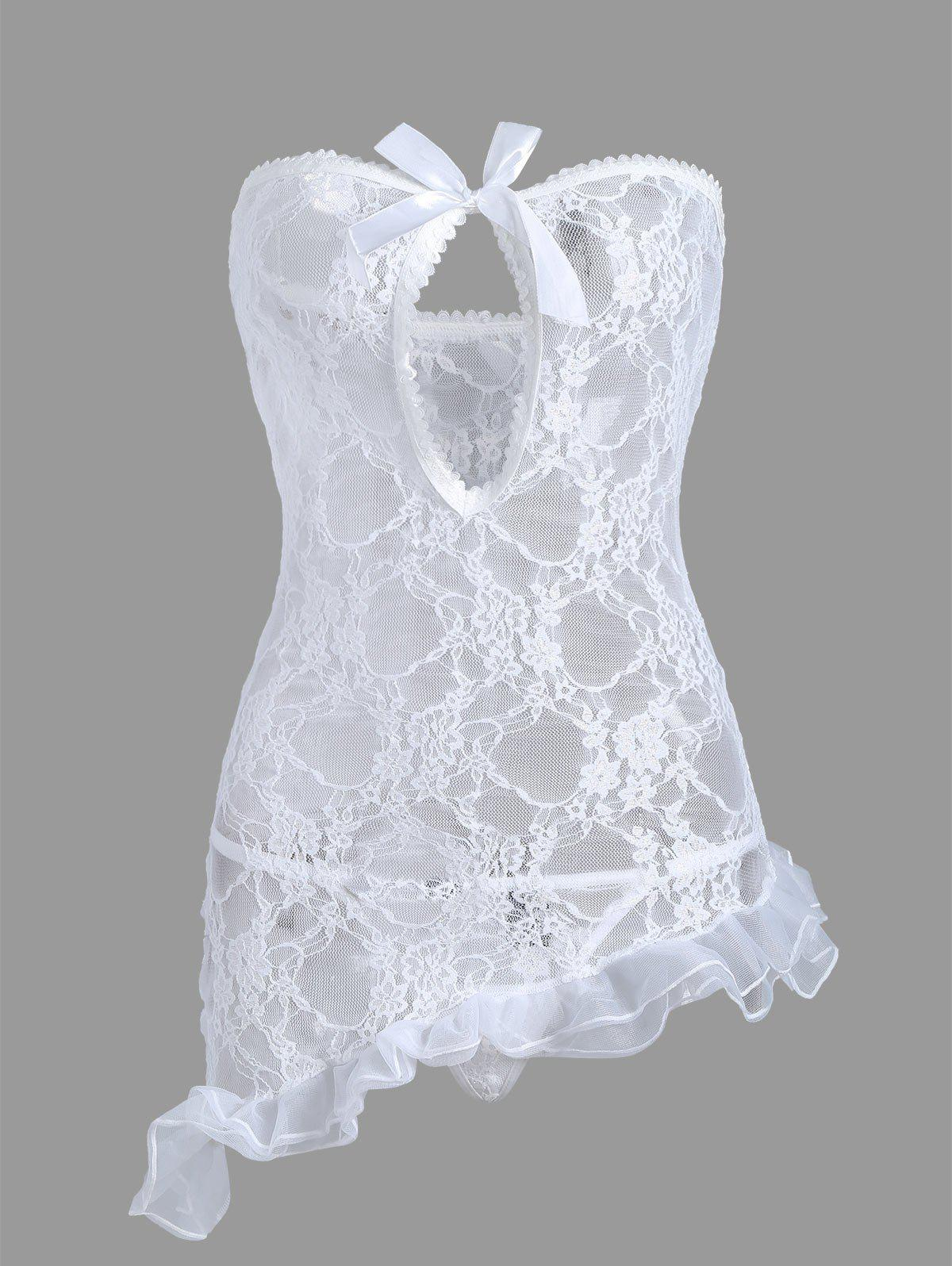 Strapless Lace Sheer Short Dress - WHITE L