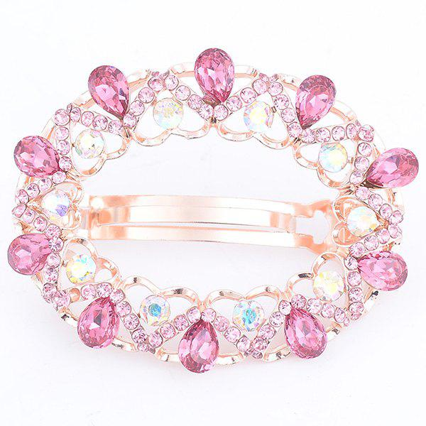 Hollow Out Faux Gemstone Inlaid Round Barrette - ROSE PÂLE