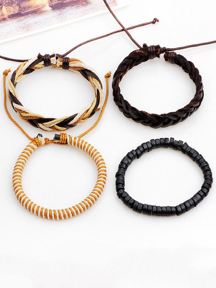Faux Leather Beaded Woven Rope Bracelets - BROWN