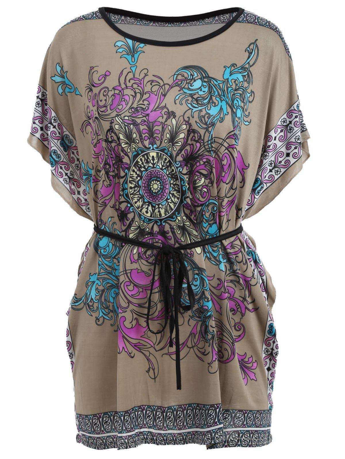 Batwing Sleeve Tribal Print Tunic T-shirt - FLORAL ONE SIZE