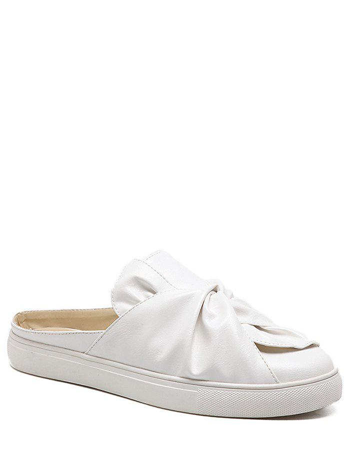 Faux Leather Slip On Bowknot Flats - Blanc 40