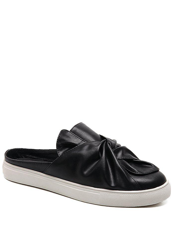 Faux Leather Slip On Bowknot Flats - Noir 38
