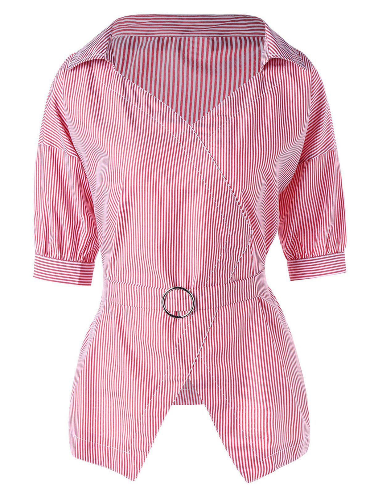 Cravate Cravate à rayures Peplum Blouse - ROSE PÂLE 2XL