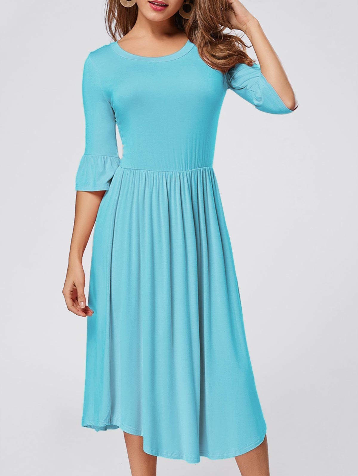 Ruffle Sleeve Midi Jersey Dress - BLUE S