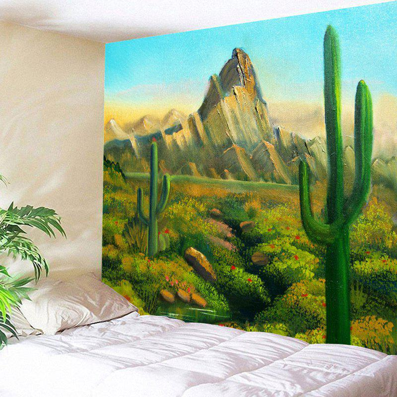 Cactus Hill Painted Wall Hanging Tapestry - GREEN W79 INCH * L59 INCH