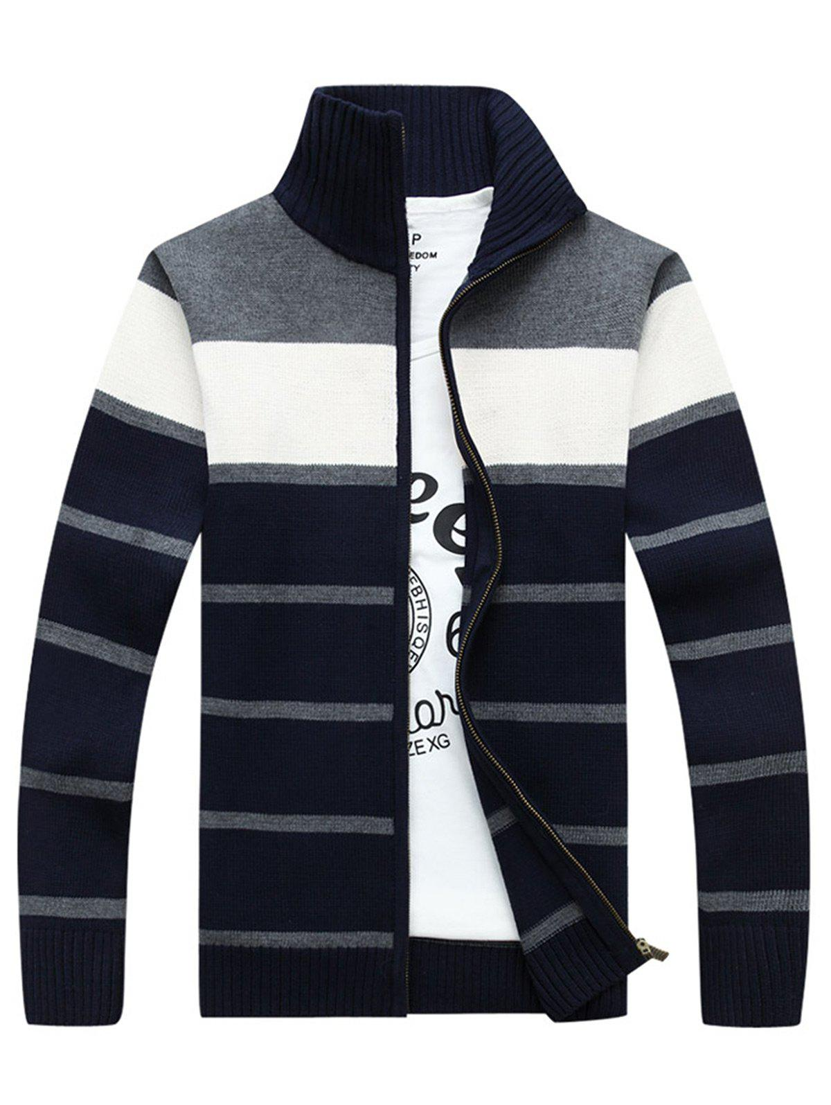 Zipper Front Stripe Cardigan - GRAY 2XL