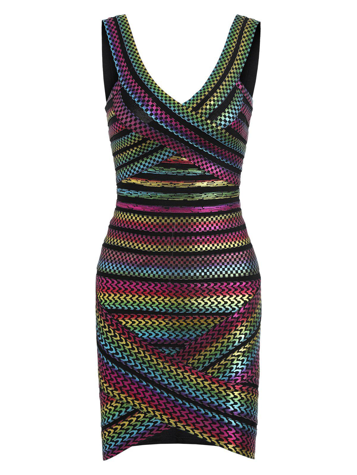 Rainbow Bronzing Bodycon Bandage Dress, Colormix