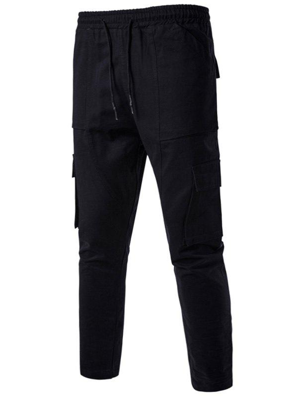 Multi Pockets Drawstring Nine Minutes of Cargo Pants - BLACK XL