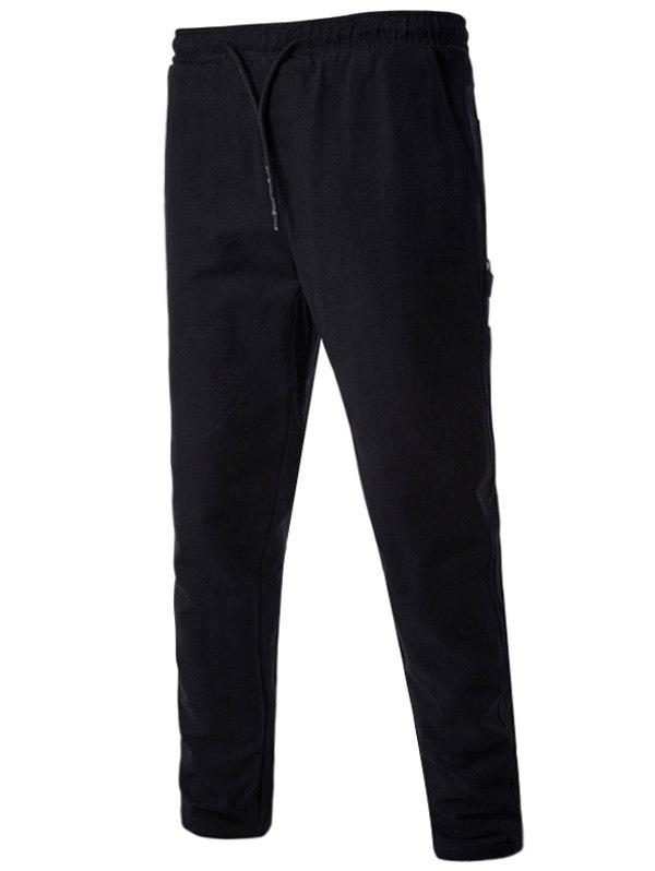 Side Pockets Drawstring Harem Pants - BLACK 3XL