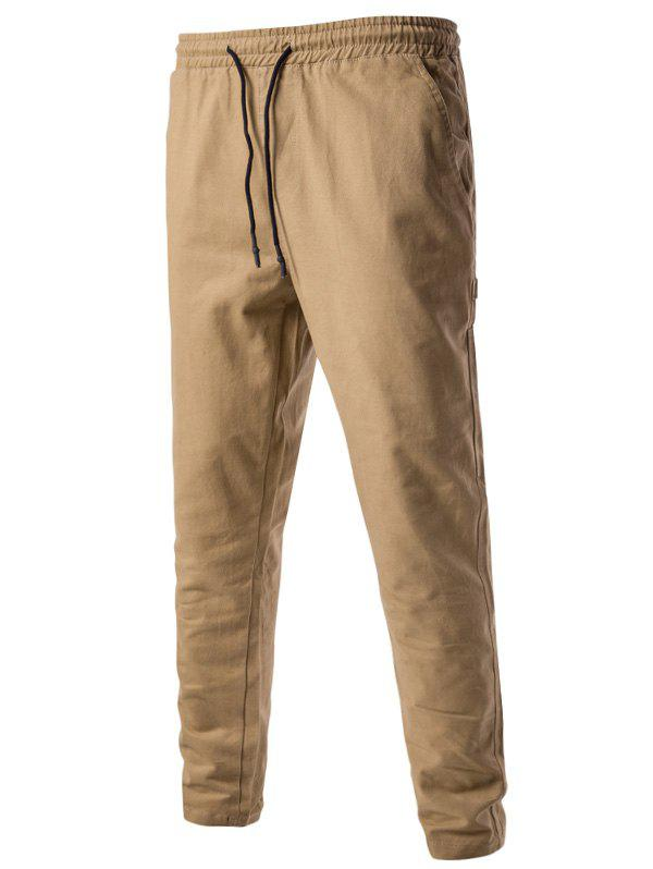 Side Pockets Drawstring Harem Pants - KHAKI L