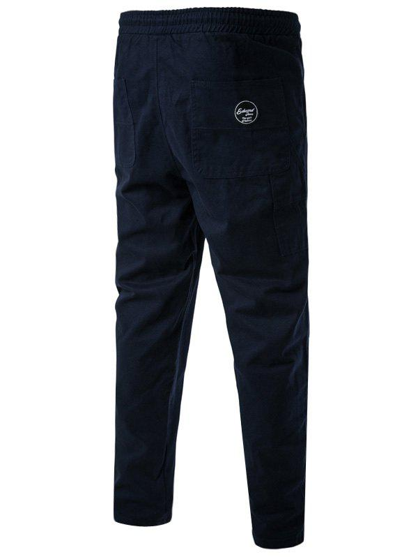 Side Pockets Drawstring Harem Pants - CADETBLUE M