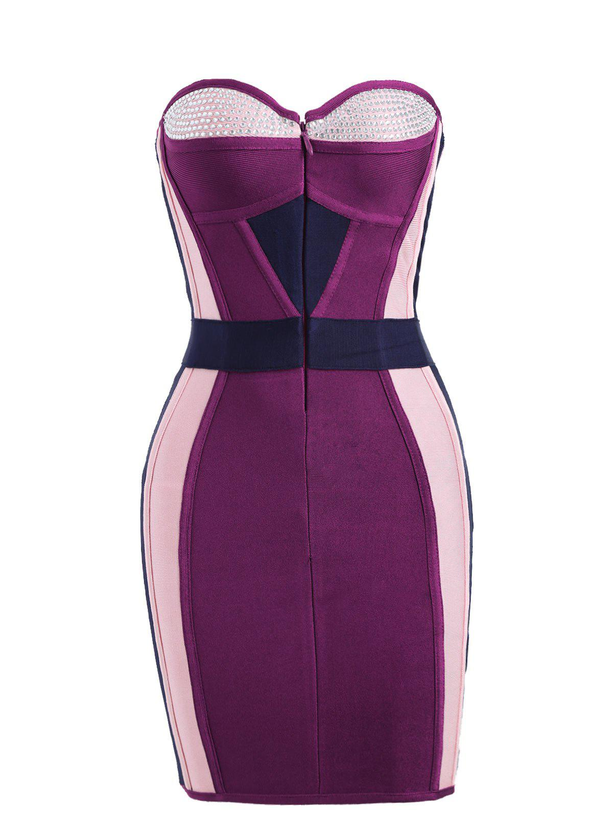 Rhinestone Color Block Tube Bandage Dress - PURPLISH RED M