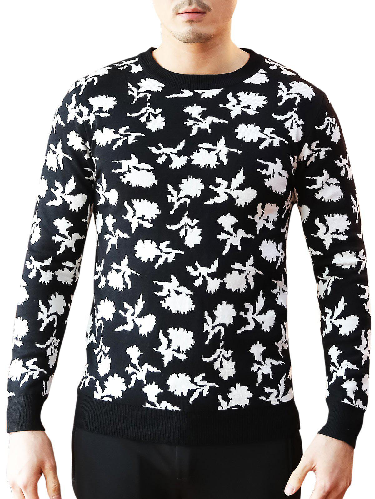 Floral Pattern Crew Neck Sweater - BLACK 3XL