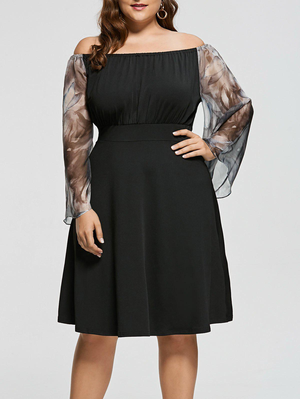 Plus Size Off Shoulder Printed Fit and Flare Dress plus size off shoulder printed fit and flare dress