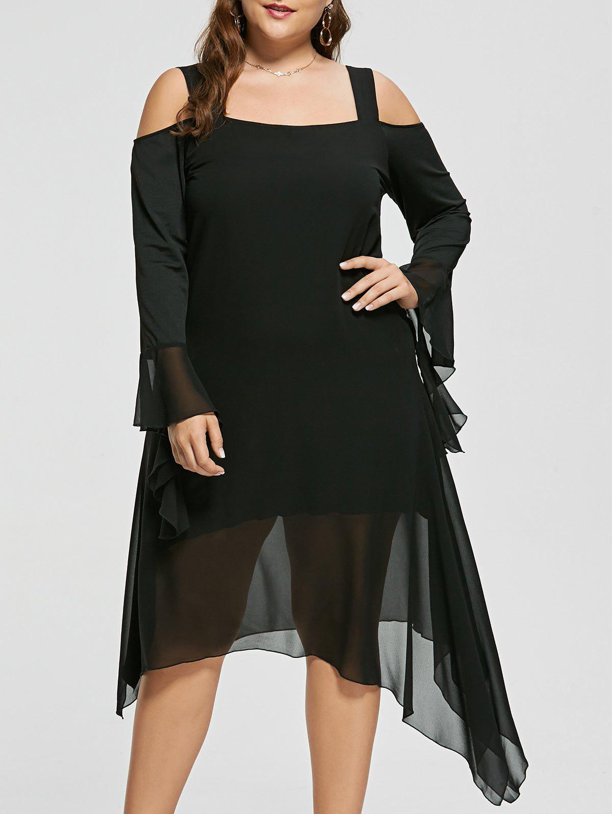 Plus Size Cold Shoulder Flare Sleeve Asymmetric Dress - BLACK 4XL