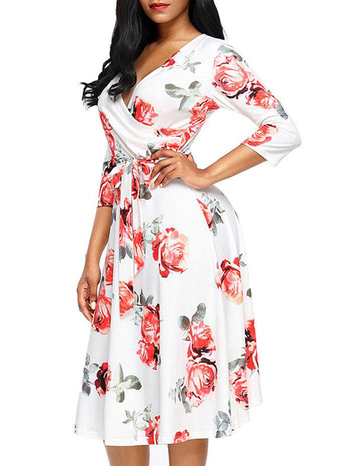 Flower Print Midi Wrap Dress - RED S