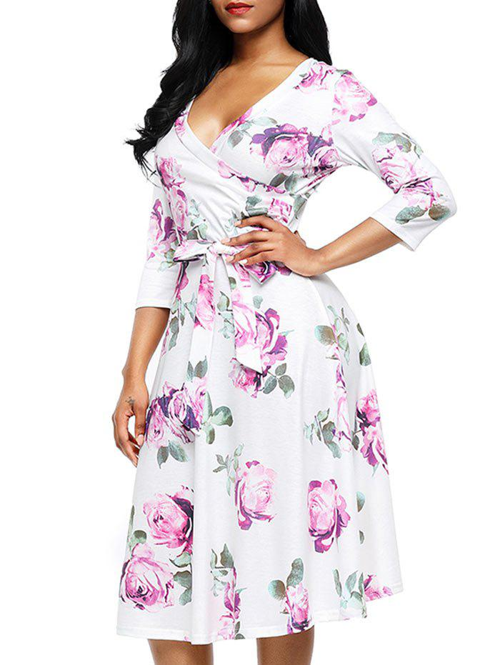 Flower Print Midi Wrap Dress - PURPLE M