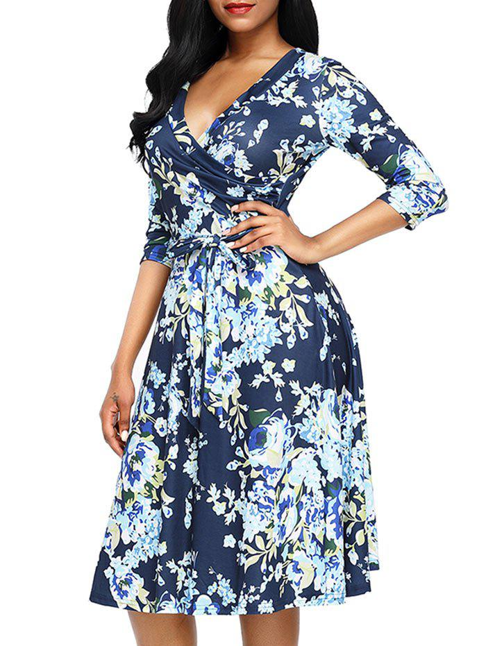 Midi Wrap Floral Print Dress - BLUE S