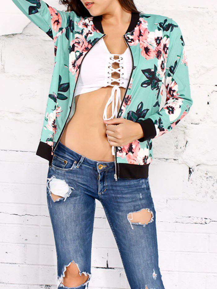 Floral Zippered Jacket - GREEN S