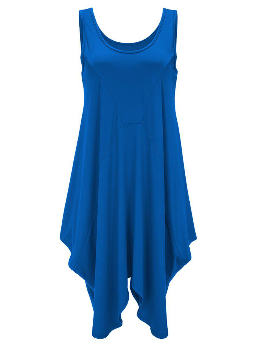 U Neck Long Asymmetrical Tank Top - BLUE L