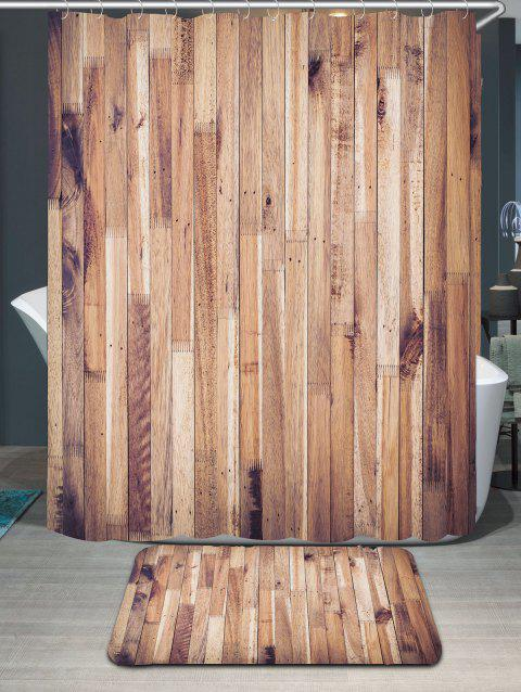 Wood Grain Waterproof Shower Curtain and Area Rug - WOOD W79 INCH * L71 INCH
