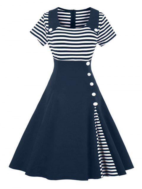 5a0d40e898 LIMITED OFFER  2019 Vintage Striped Buttoned Pin Up Dress In ...