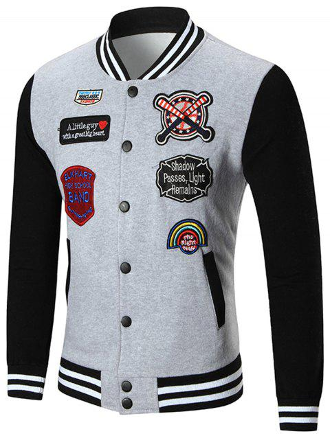 Applique Patched Baseball Jacket - GRAY 2XL