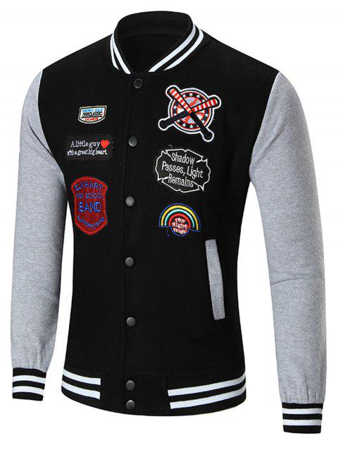 Veste de baseball Appliquée à patches - Noir L