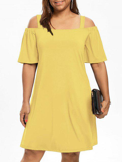 a4790c7c361 2019 Robe Manches 1 2 Épaules Nues Grande Taille Jaune 2XL In Robes ...