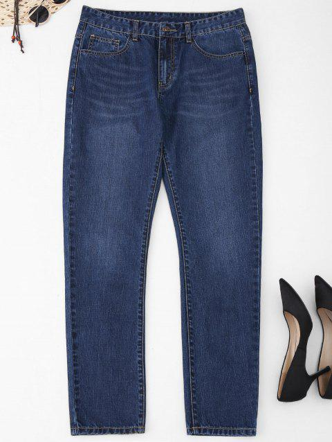 Five Pockets Plus Size Straight Jeans - Bleu Toile de Jean 2XL