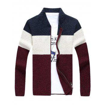 Color Block Stand Collar Sweater Cardigan - CADETBLUE CADETBLUE