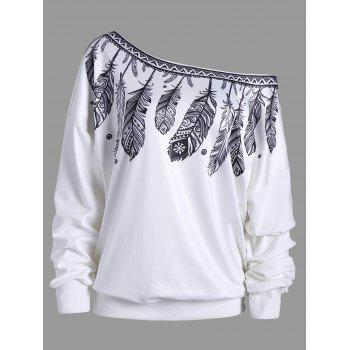 Feather Print Drop Shoulder Skew Neck Sweatshirt
