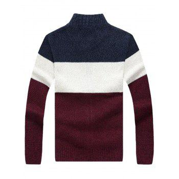 Color Block Stand Collar Sweater Cardigan - CADETBLUE M