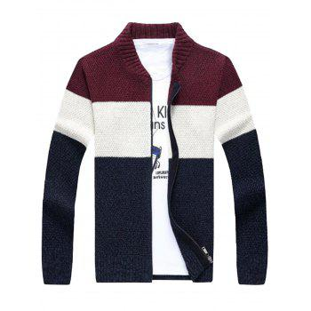 Color Block Stand Collar Sweater Cardigan - WINE RED M