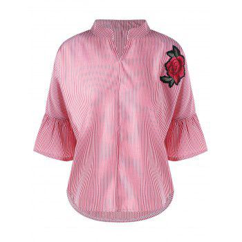 Embroidery Applique Flare Sleeve Striped Blouse