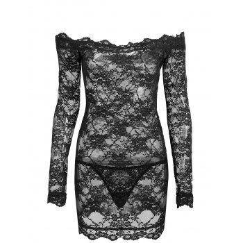 Off Shoulder Lace Sheer Lingerie Dress - BLACK BLACK
