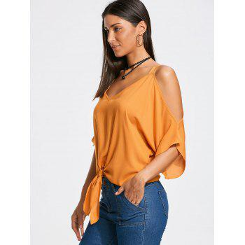 Tie Front Batwing Sleeve Cold Shoulder Blouse - Mandarin L