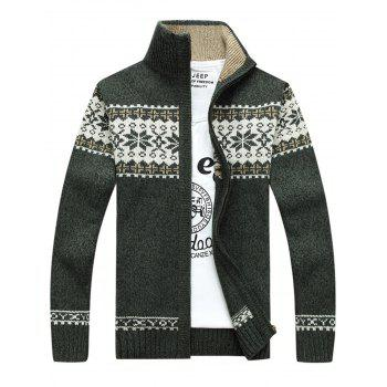 Zip Up Jaquard Sweater Cardigan - GREEN GREEN