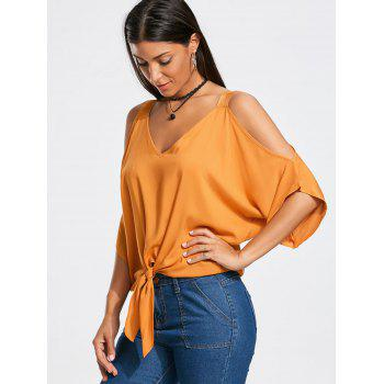 Tie Front Batwing Sleeve Cold Shoulder Blouse - Mandarin XL