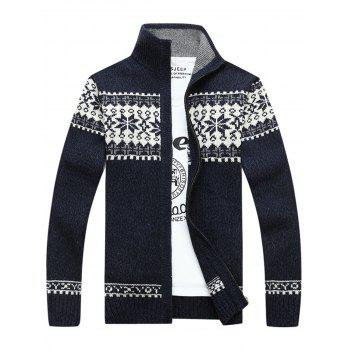 Zip Up Jaquard Sweater Cardigan - CADETBLUE L