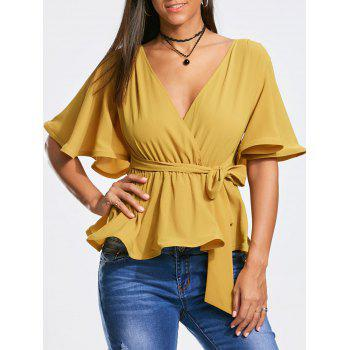Plunging Neckline Peplum Surplice Blouse with Bowknot Belted