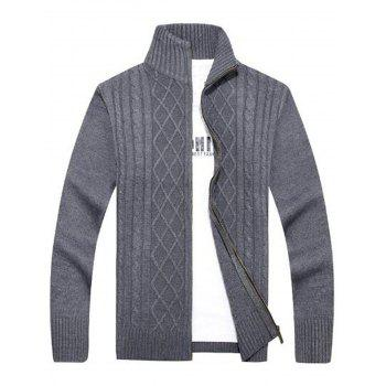 Cable Knit High Neck Sweater Cardigan - GRAY GRAY