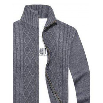 Cable Knit High Neck Sweater Cardigan - 2XL 2XL