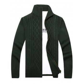 Cable Knit High Neck Sweater Cardigan - GREEN L