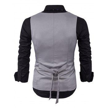 V Neck Back Belt Single Breasted Waistcoat - Gris Clair L
