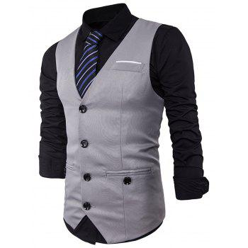 V Neck Back Belt Single Breasted Waistcoat - LIGHT GRAY M